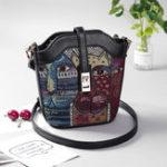 New Women Faux Leather Cartoon Print Bucket Bag