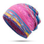 New Women Cotton Earmuffs Rainbow Stripe Beanie Hat Scarf