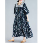 New Women Vintage Printed Square Neck Long Dress