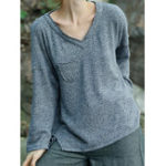 New Casual Women Loose V-Neck Knit Long Sleeve T-Shirts