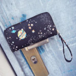 New Women Faux Leather Galaxy Pattern Wallet Phone Bag