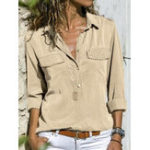 New Women Casual Pure Color V-Neck Long Sleeve Blouse