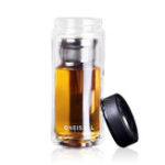 New Large Capacity Glass Water Bottle Double Walled Travel Mug Portable Convenient Cup with Tea Infuser