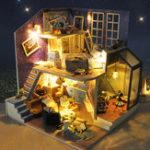 New T-Yu DIY Wooden Miniature Doll house Kit A House Under The Starry Sky Music Light Furniture Romantic Gift Collection