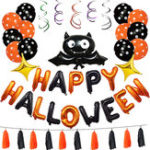 New  1 Set Happy Halloween Decorations Bat Balloon Party Hanging Letter Balloons Prop
