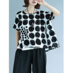 New Plus Size Polka Dot Short Sleeve Women T-shirts