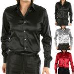 New Men's Smooth Silk Satin Long Sleeve Dress Shirts