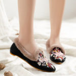 New Women Embroidery Flower Flats Loafers