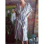 New S-5XL Women Cotton Striped V-Neck Half Sleeve Dress