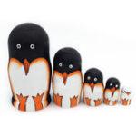 New 5PCS Wooden Penguin Nestling Animal Russian Doll Babushka Matryoshka Christams