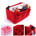 New 11 Grids Multi-functional Women Cosmetic Bag Felt Cloth Makeup Handbag Organizer Holder With Insert Bag Portable Travel Storage Bag