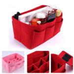 New 11 Grids Multi-functional Women Cosmetic Bag Felt Cloth Makeup Handbag Organizer Holder With Insert Bag Portable Travel Storage Bag
