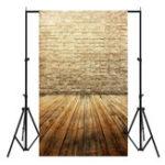 New 3x5FT Vinyl Brown Brick Wall Wood Floor Photography Backdrop Background Studio Prop
