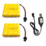 New 2Pcs 4.8V 700mAh Ni-Cd RC Car Battery Pack SM 2P Plug With USB Charging Cable For Toys