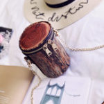New Women Cute Wood Grain PU Leather Shoulder Bag Chain Bag
