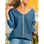 New Women Casual Patchwork V-neck Long Sleeve Blouse