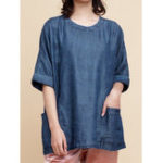 New Women Casual Denim 3/4 Sleeve Loose Blouse