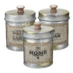 New 3PCS Vintage Shabby Metal Lid Storage Tank Kitchen Candy Nuts Bottles Crafts Jar