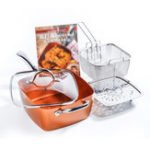 New 4 Piece/ Set Copper Square Frying Pan Induction For Chef Glass Lid Fry Basket Steam Rack