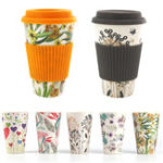 New 300-450ML Portable Travel Reusable Bamboo Fiber Coffee Cup Eco-Friendly Water Drinking Mug