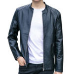 New Men Zipper Stand Collar Leather Jacket