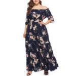 New Plus Size Bohemian Off-shoulder Ruffles Long Dress