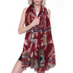 New Women Vintage Lightweight Floral Print Scarf Flower Shawl