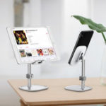 New Baseua Metal 35 Degree Up Down Adjustable Cable Clip Desktop Stand Lazy Holder for Mobile Phone Tablet