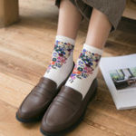 New Women Vintage Floral Cotton Breathable Sweat Tube Socks