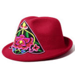 New Women Embroidery Flower Small Brim Fedora Hat Ethnic Top Cap