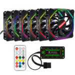 New Coolmoon 6PCS 12cm Adjustable RGB Cooling Fan with IR Controller for Desktop PC