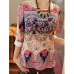 New Women Casual Print Crew Neck 3/4 Sleeve Blouse