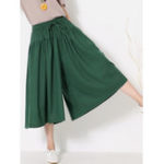 New Wide Leg Women Pure Color Cotton Linen Elastic Waist Pants