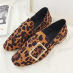 New Leopard Grain Buckle Decoration Comfy Loafers