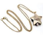 New DEFFRUN Star Shape Lucky Word Retro Bronze Pocket Watch