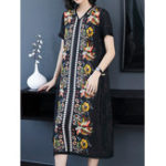 New Women Elegant Floral Print V-neck Short Sleeve Dress