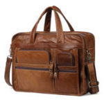 New Leather Handbag Zipper Men Business Handle Briefcases Bags Shoulder Bag