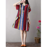 New Women Color Stripe Side Pockets Short Sleeve Dress