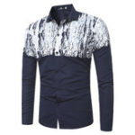 New Men Print Patchwork Long Sleeve Shirts