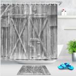 New Waterproof Fabric Rustic Wood Shower Curtain Liner Bathroom Accessories Mat Hook