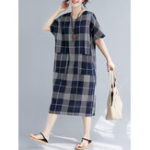 New Women Casual Plaid V-neck Short Sleeve Pockets Dress