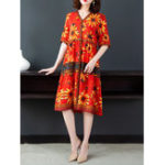 New Elegant Women Floral Print V-Neck Button Short Sleeve Dress