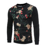 New Men Colorful Floral Print Long Sleeve T-Shirts