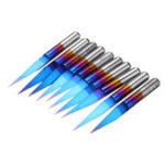 New Drillpro 10pcs 0.1/0.2/0.3mm 15 Degree Blue Nano Coated Carbide Engraving Bit Flat Bottom PCB Engraving Bit CNC Router Tool