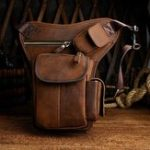 New Men Genuine leather Vintage Multi-pocket Crossbody Bag