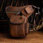 New Men Genuine leather Vintage Multi-pocket Crossbody Bag