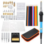 New 60Pcs 220V Wood Burning Pen Set Stencil Solder Iron Tips Tools Pyrography Kit
