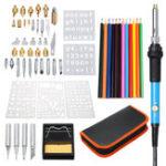 New 60Pcs 220V Wood Burning Pen Set Stencil Solder Iron Tips Tools Pyrography Kit