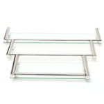 New Modern Glass Rack Holder Bathroom Shower Rectangle Kitchen Storage Shelf Wall Mounted