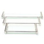 New Modern Glass Rack Holder Bathroom Shower Rectangle Kitchen Storage Shelf Wall Mounted